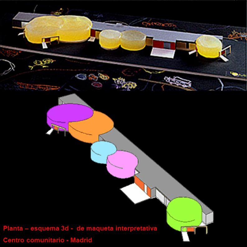 Planta – esquema 3d - de maqueta interpretativa Centro comunitario - Madrid