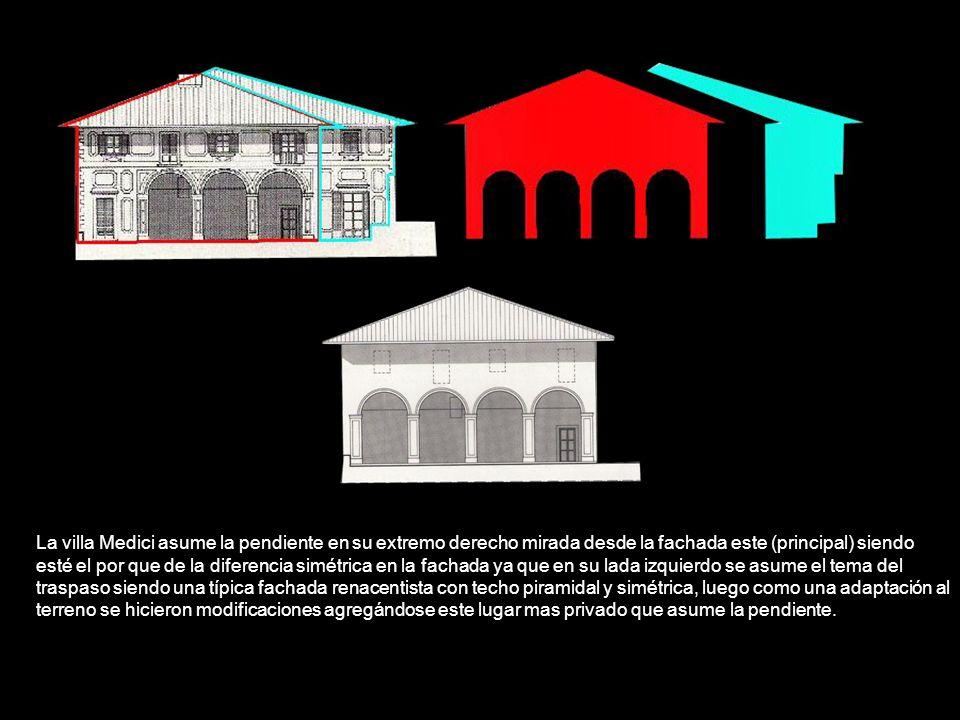 La villa Medici asume la pendiente en su extremo derecho mirada desde la fachada este (principal) siendo esté el por que de la diferencia simétrica en