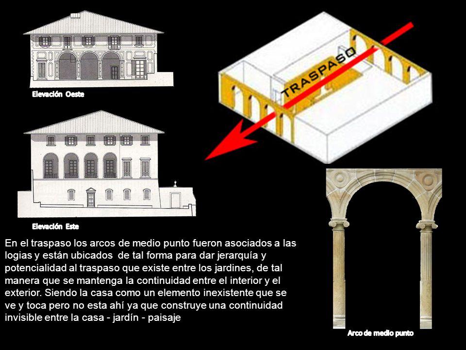 En el traspaso los arcos de medio punto fueron asociados a las logias y están ubicados de tal forma para dar jerarquía y potencialidad al traspaso que