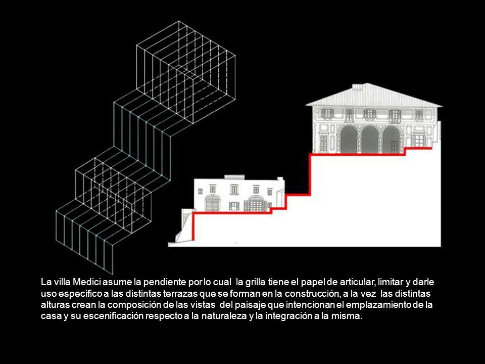 La villa Medici asume la pendiente por lo cual la grilla tiene el papel de articular, limitar y darle uso especifico a las distintas terrazas que se f