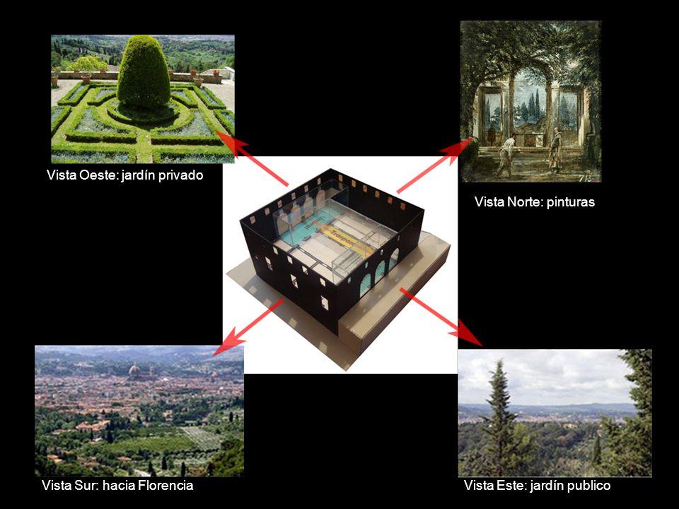 Vista Este: jardín publico Vista Oeste: jardín privado Vista Norte: pinturas Vista Sur: hacia Florencia