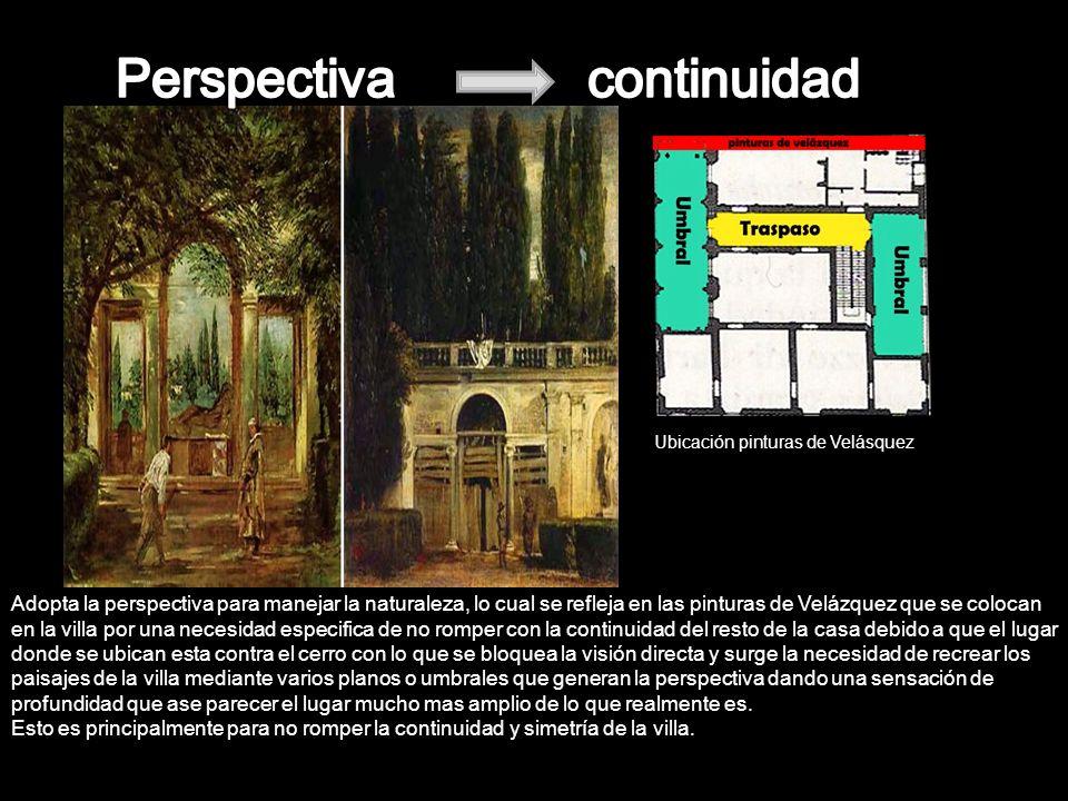 Las villas en general se situaban de manera que hubiese visión directa entre ellas y en el caso de que la vista no fuese posible se recurría a la pintura en el interior.
