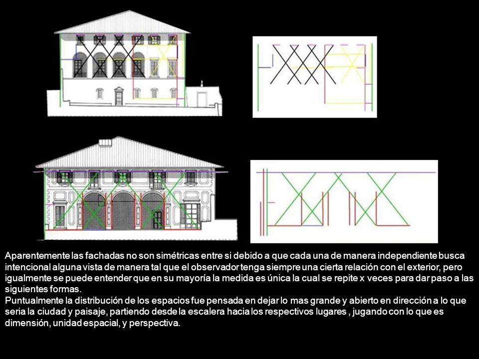 Aparentemente las fachadas no son simétricas entre si debido a que cada una de manera independiente busca intencional alguna vista de manera tal que e