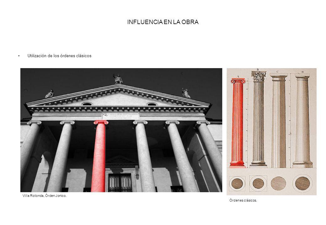 INFLUENCIA EN LA OBRA Utilización de los órdenes clásicos Villa Rotonda, Órden Jonico. Órdenes clásicos.