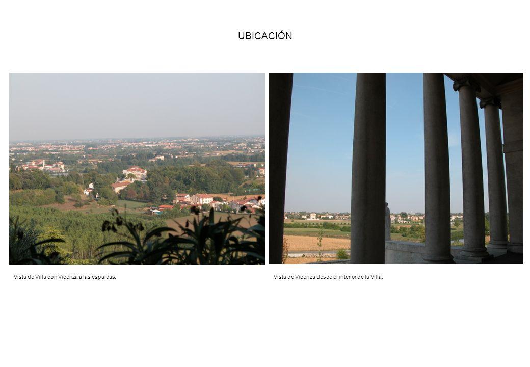 UBICACIÓN Vista de Villa con Vicenza a las espaldas.Vista de Vicenza desde el interior de la Villa.