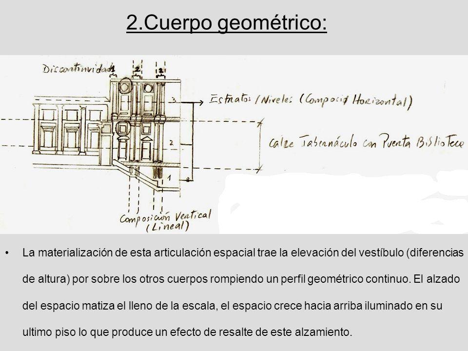 2.Cuerpo geométrico: La materialización de esta articulación espacial trae la elevación del vestíbulo (diferencias de altura) por sobre los otros cuer