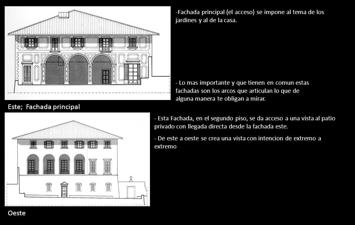 Oeste Este; Fachada principal -Fachada principal (el acceso) se impone al tema de los jardines y al de la casa. - Esta Fachada, en el segundo piso, se