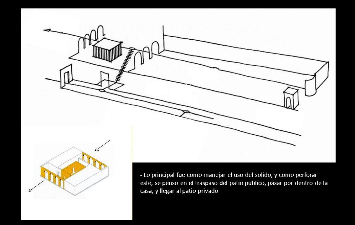 - Lo principal fue como manejar el uso del solido, y como perforar este, se penso en el traspaso del patio publico, pasar por dentro de la casa, y lle