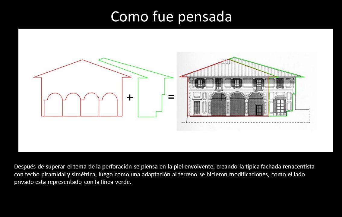 Como fue pensada Después de superar el tema de la perforación se piensa en la piel envolvente, creando la típica fachada renacentista con techo pirami