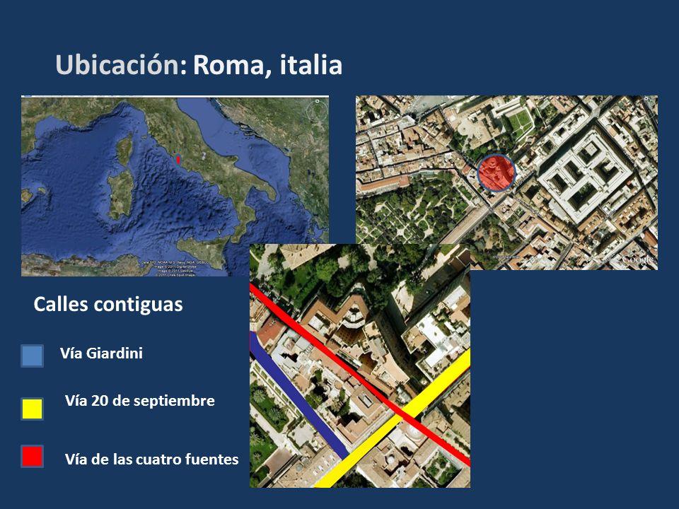 Ubicación: Roma, italia Calles contiguas Vía Giardini Vía 20 de septiembre Vía de las cuatro fuentes
