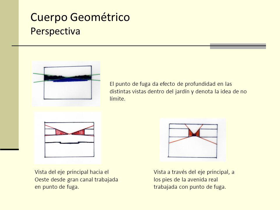 Cuerpo Geométrico Perspectiva El punto de fuga da efecto de profundidad en las distintas vistas dentro del jardín y denota la idea de no límite. Vista
