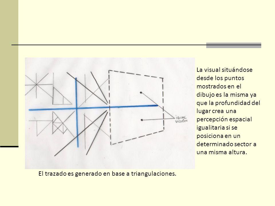 El trazado es generado en base a triangulaciones. La visual situándose desde los puntos mostrados en el dibujo es la misma ya que la profundidad del l