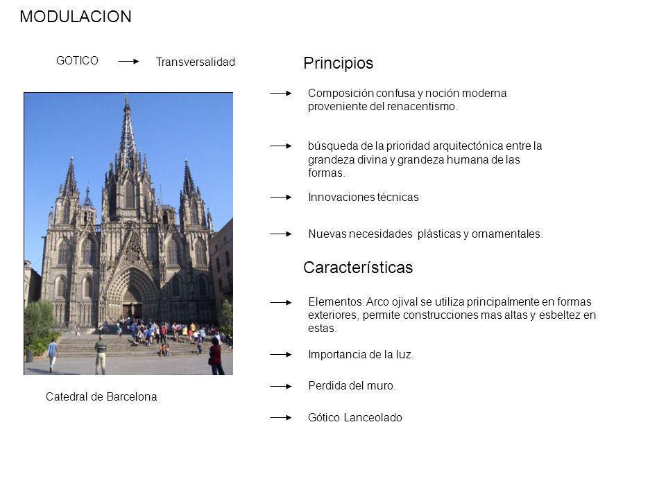 MODULACION GOTICO Transversalidad Composición confusa y noción moderna proveniente del renacentismo. búsqueda de la prioridad arquitectónica entre la