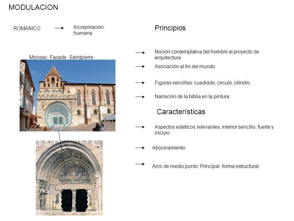 ROMANICO Incorporación humana Noción contemplativa del hombre al proyecto de arquitectura Asociación al fin del mundo MODULACION Principios Figuras se
