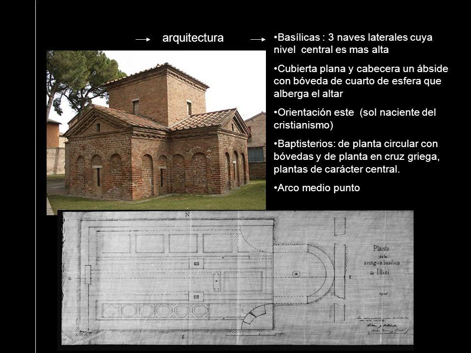 arquitectura Basílicas : 3 naves laterales cuya nivel central es mas alta Cubierta plana y cabecera un ábside con bóveda de cuarto de esfera que alber