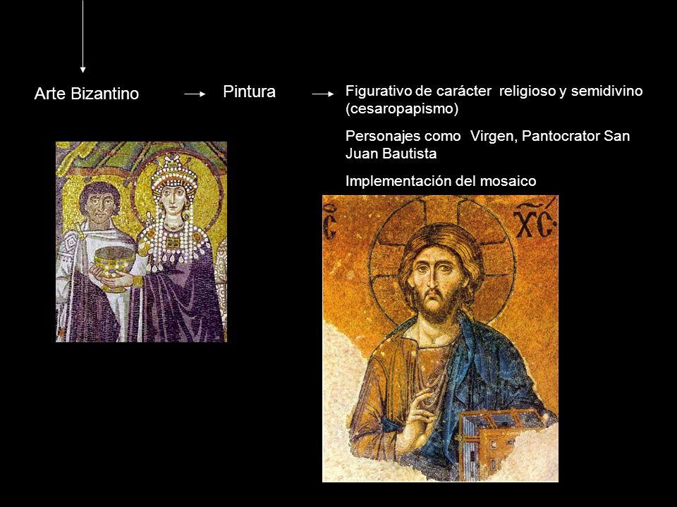 Arte Bizantino Pintura Figurativo de carácter religioso y semidivino (cesaropapismo) Personajes como Virgen, Pantocrator San Juan Bautista Implementac
