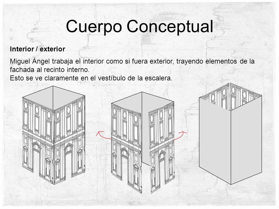 Cuerpo Conceptual Miguel Ángel trabaja el interior como si fuera exterior, trayendo elementos de la fachada al recinto interno. Esto se ve claramente