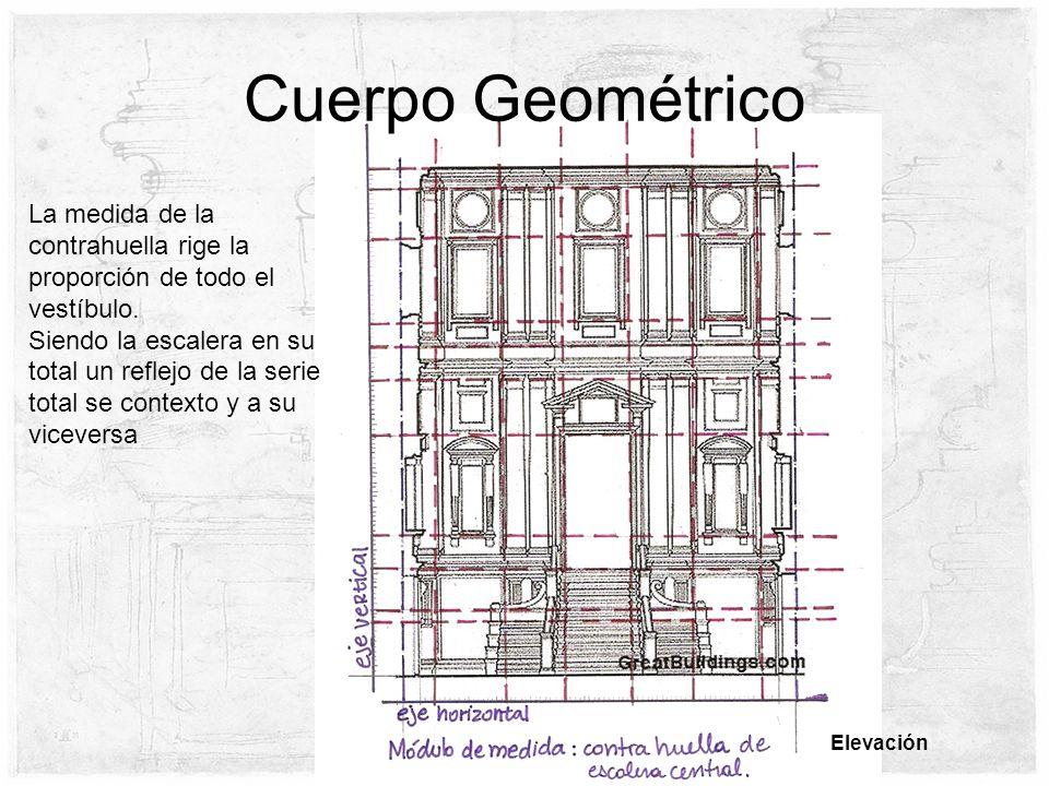Cuerpo Geométrico Elevación La medida de la contrahuella rige la proporción de todo el vestíbulo. Siendo la escalera en su total un reflejo de la seri