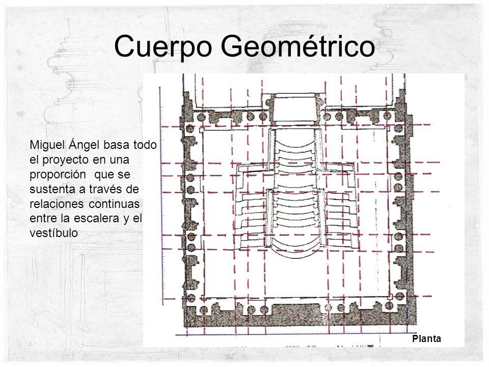 Cuerpo Geométrico Planta Miguel Ángel basa todo el proyecto en una proporción que se sustenta a través de relaciones continuas entre la escalera y el vestíbulo