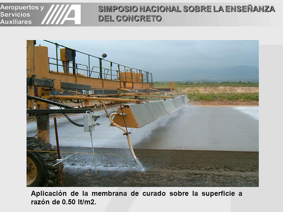 SIMPOSIO NACIONAL SOBRE LA ENSEÑANZA DEL CONCRETO Aplicación de la membrana de curado sobre la superficie a razón de 0.50 lt/m2.