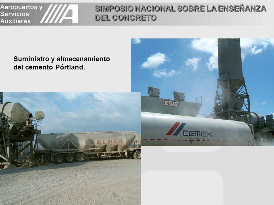 SIMPOSIO NACIONAL SOBRE LA ENSEÑANZA DEL CONCRETO Suministro y almacenamiento del cemento Pórtland.