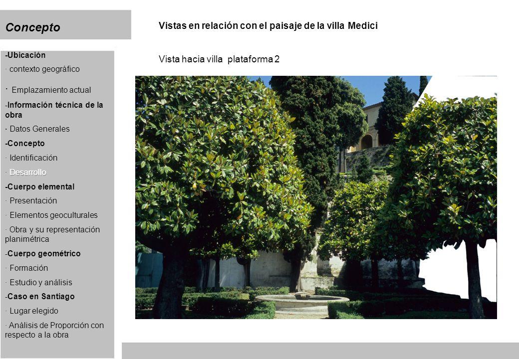 Concepto Vistas en relación con el paisaje de la villa Medici Vista hacia villa plataforma 2