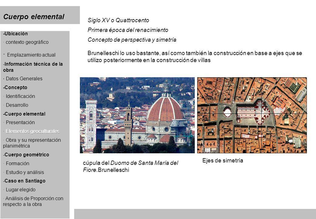 Cuerpo elemental Siglo XV o Quattrocento Primera época del renacimiento Concepto de perspectiva y simetría Brunelleschi lo uso bastante, así como también la construcción en base a ejes que se utilizo posteriormente en la construcción de villas cúpula del Duomo de Santa María del Fiore.Brunelleschi Ejes de simetría