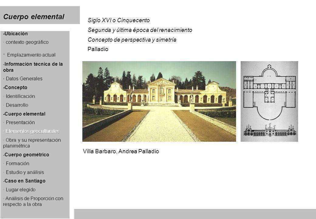 Cuerpo elemental Siglo XVI o Cinquecento Segunda y última época del renacimiento Concepto de perspectiva y simetría Palladio Villa Barbaro, Andrea Pal