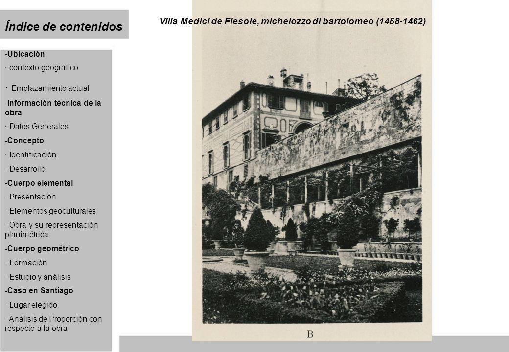 Ubicación La villa se sitúa unos 250 metros de altura sobre el valle del Arno, a unos 5 kilómetros del casco antiguo de Florencia.