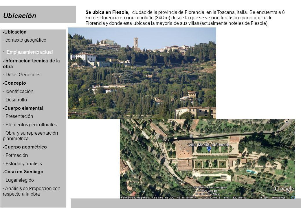 Información técnica de la obra La villa Medici se construyo entre 1458 y 1462 diseñada para la familia medicis y construida por michelozzo di bartolomeo principalmente, pero luego de estudios recientes se le atribuyo la idea de este proyecto a Leon Battista Alberti Es un ejemplo vivo del tipo mas característico de la villa renacentista.
