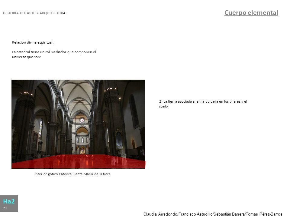 Claudia Arredondo/Francisco Astudillo/Sebastián Barrera/Tomas Pérez-Barros HISTORIA DEL ARTE Y ARQUITECTURA Ha2 21 Cuerpo elemental Relación divina es