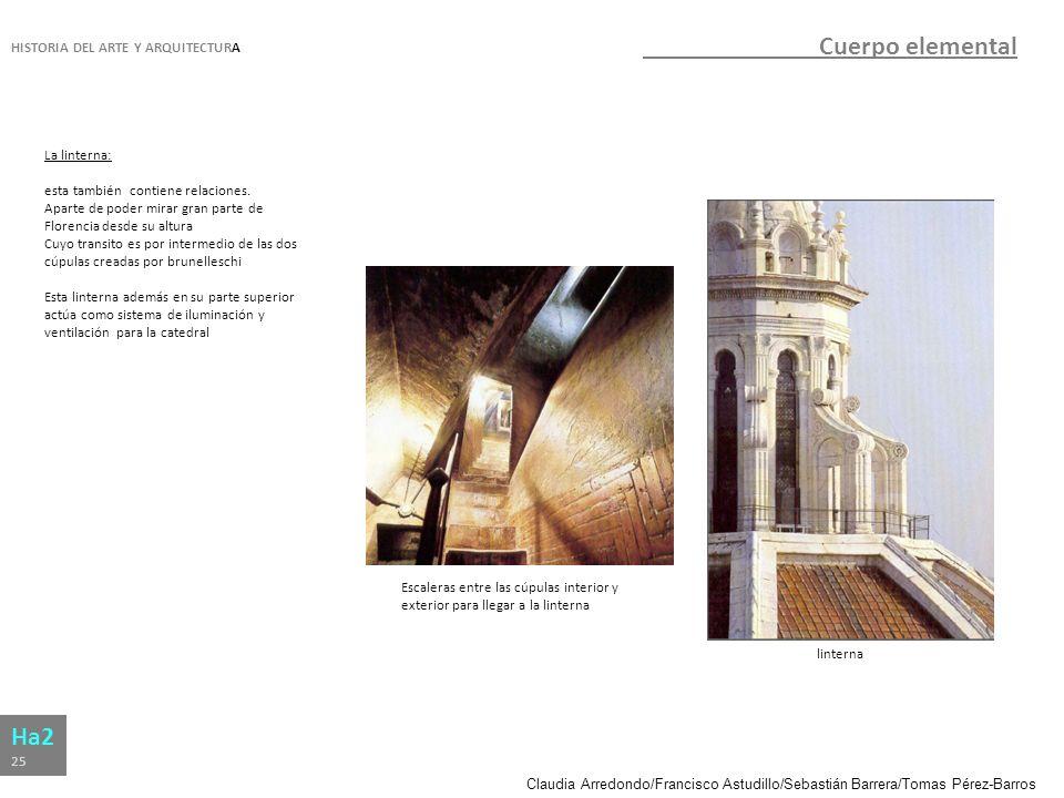 Claudia Arredondo/Francisco Astudillo/Sebastián Barrera/Tomas Pérez-Barros HISTORIA DEL ARTE Y ARQUITECTURA Ha2 25 Cuerpo elemental La linterna: esta