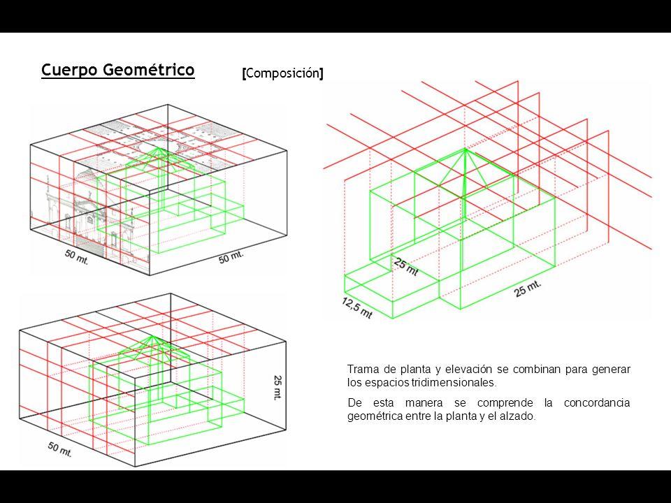 Cuerpo Geométrico [ Composición ] Trama de planta y elevación se combinan para generar los espacios tridimensionales. De esta manera se comprende la c