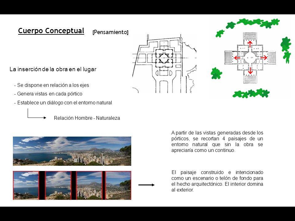 Cuerpo Conceptual La inserción de la obra en el lugar - Se dispone en relación a los ejes - Genera vistas en cada pórtico - Establece un diálogo con e