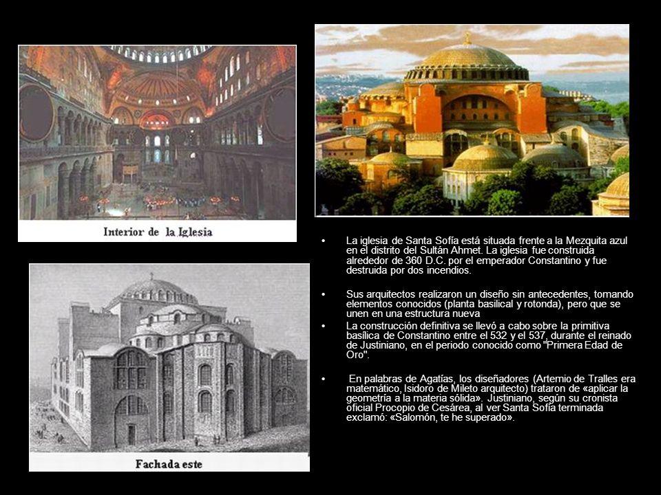 Basílica La iglesia de Santa Sofía está situada frente a la Mezquita azul en el distrito del Sultán Ahmet. La iglesia fue construida alrededor de 360