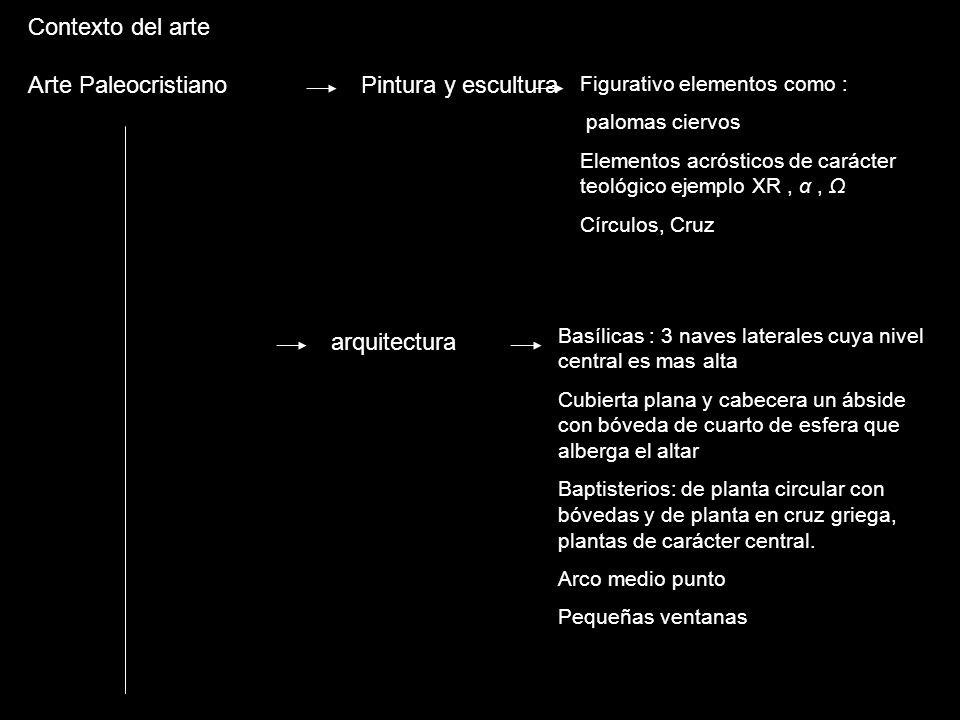 Contexto del arte Arte Paleocristiano Pintura y escultura Figurativo elementos como : palomas ciervos Elementos acrósticos de carácter teológico ejemp