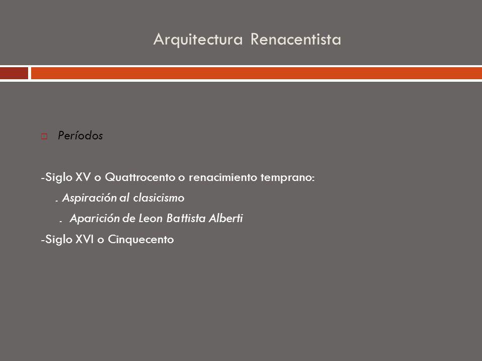 Arquitectura Renacentista Períodos -Siglo XV o Quattrocento o renacimiento temprano:. Aspiración al clasicismo. Aparición de Leon Battista Alberti -Si