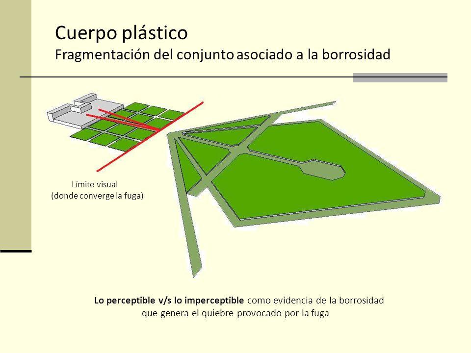 Cuerpo plástico Fragmentación del conjunto asociado a la borrosidad Límite visual (donde converge la fuga) Lo perceptible v/s lo imperceptible como ev