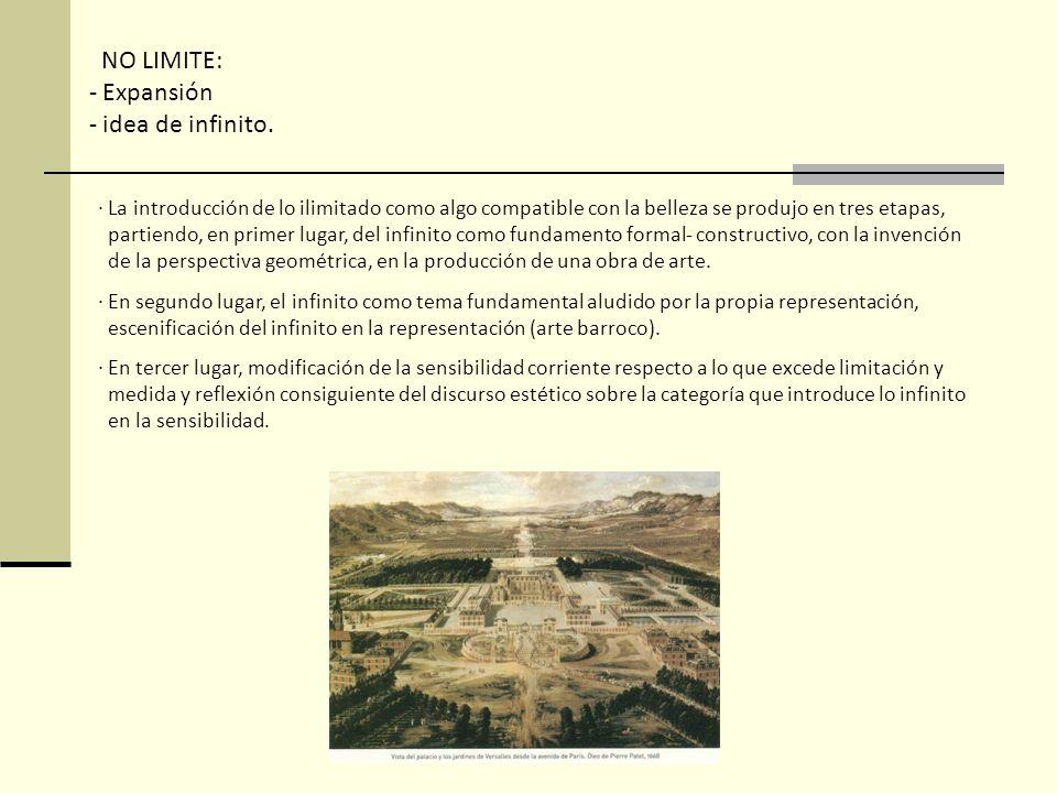 NO LIMITE: - Expansión - idea de infinito. · La introducción de lo ilimitado como algo compatible con la belleza se produjo en tres etapas, partiendo,