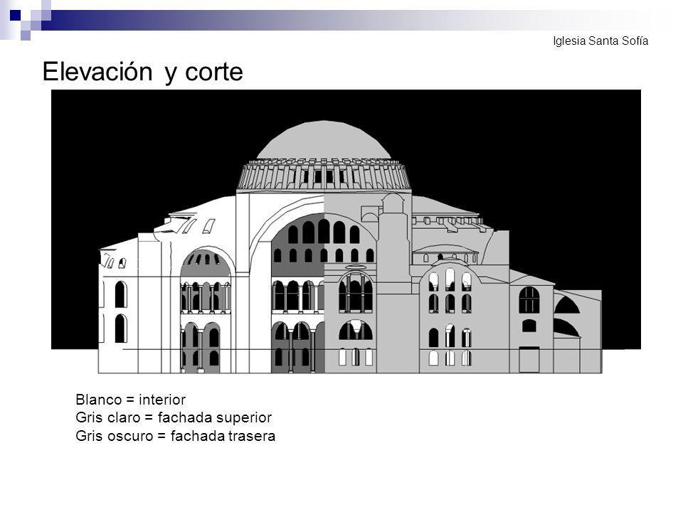 Elevación y corte Blanco = interior Gris claro = fachada superior Gris oscuro = fachada trasera Iglesia Santa Sofía