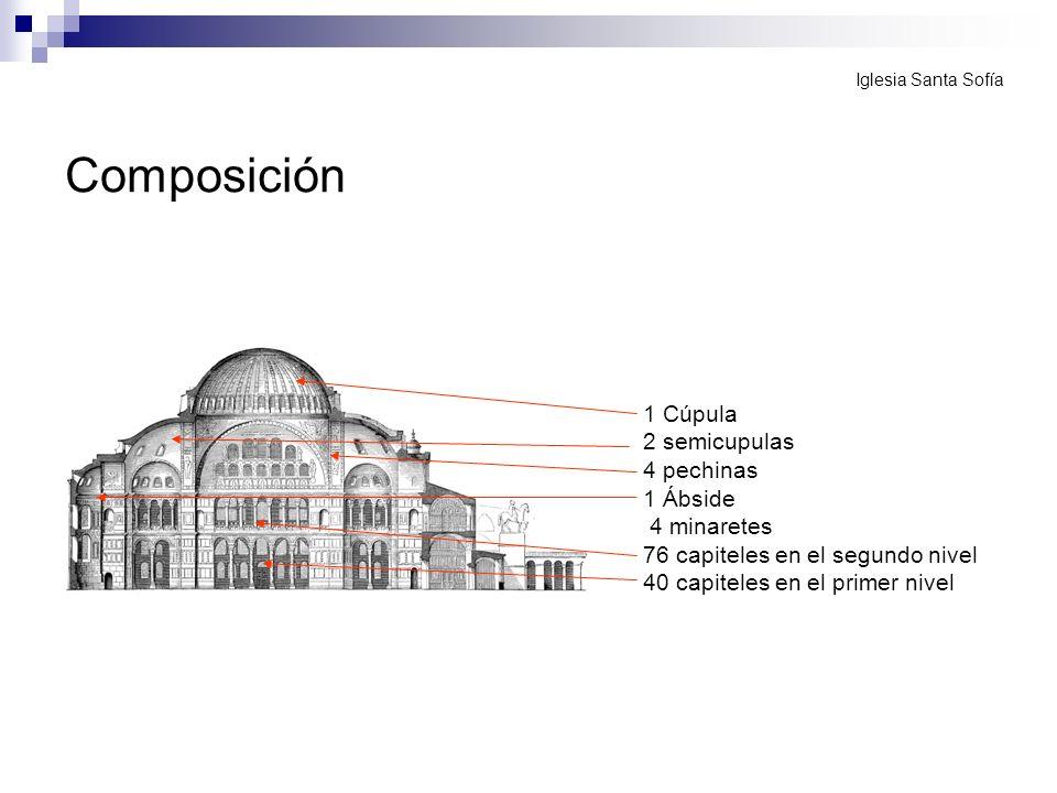 Composición 1 Cúpula 2 semicupulas 4 pechinas 1 Ábside 4 minaretes 76 capiteles en el segundo nivel 40 capiteles en el primer nivel Iglesia Santa Sofí