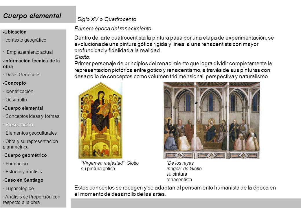 Cuerpo elemental Siglo XV o Quattrocento Primera época del renacimiento Dentro del arte cuatrocentista la pintura pasa por una etapa de experimentación, se evoluciona de una pintura gótica rígida y lineal a una renacentista con mayor profundidad y fidelidad a la realidad.