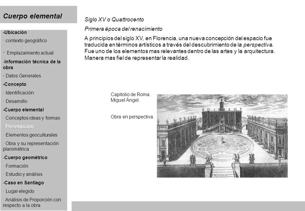 Cuerpo elemental Siglo XV o Quattrocento Primera época del renacimiento A principios del siglo XV, en Florencia, una nueva concepción del espacio fue traducida en términos artísticos a través del descubrimiento de la perspectiva.
