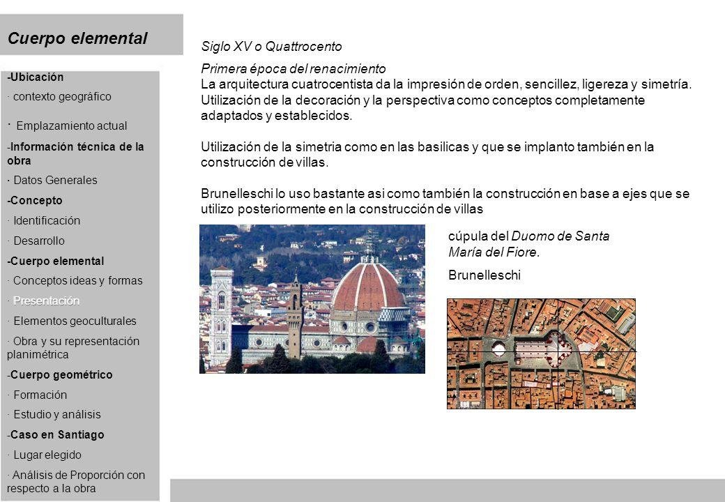 Cuerpo elemental Siglo XV o Quattrocento Primera época del renacimiento La arquitectura cuatrocentista da la impresión de orden, sencillez, ligereza y simetría.
