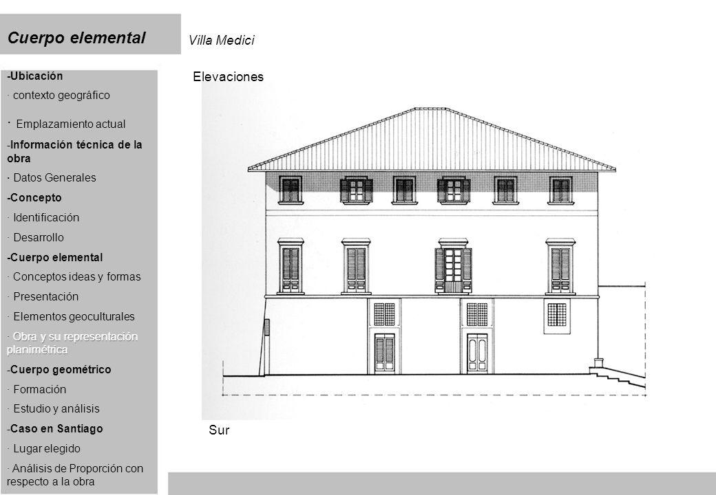 Cuerpo elemental Villa Medici Elevaciones Sur
