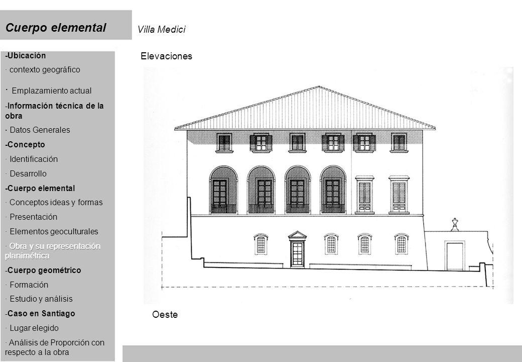 Cuerpo elemental Villa Medici Elevaciones Oeste