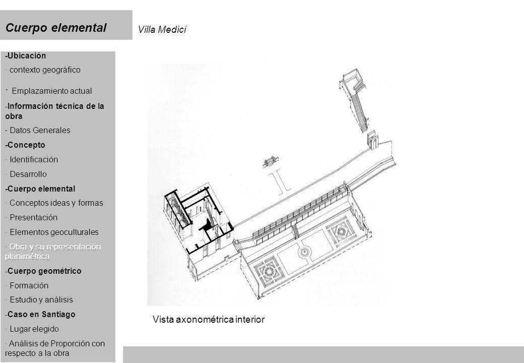 Cuerpo elemental Villa Medici Vista axonométrica interior