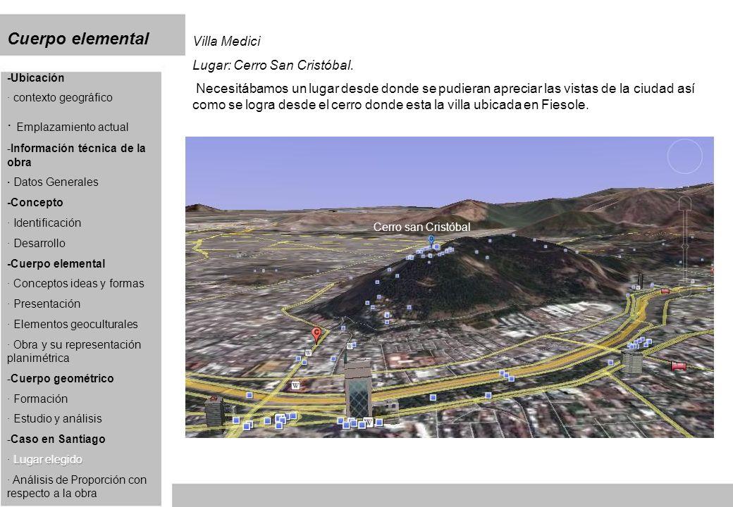 Cuerpo elemental Villa Medici Lugar: Cerro San Cristóbal. Necesitábamos un lugar desde donde se pudieran apreciar las vistas de la ciudad así como se