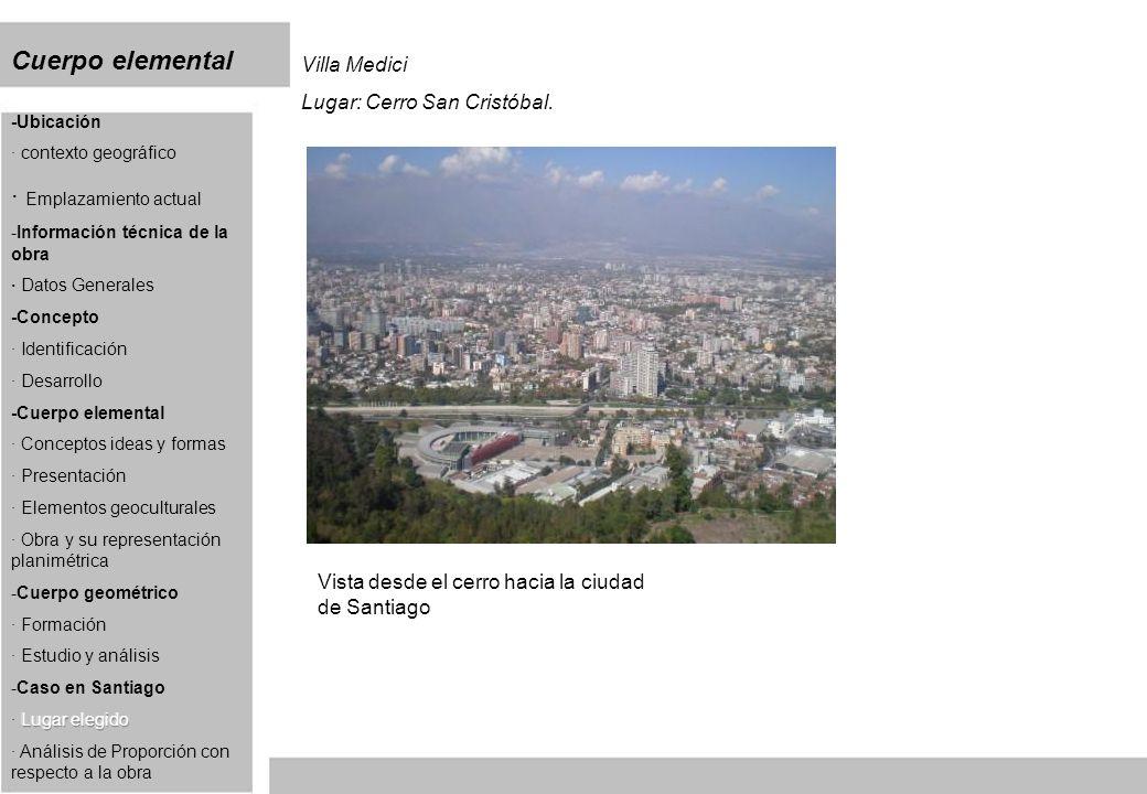 Cuerpo elemental Villa Medici Lugar: Cerro San Cristóbal. Vista desde el cerro hacia la ciudad de Santiago