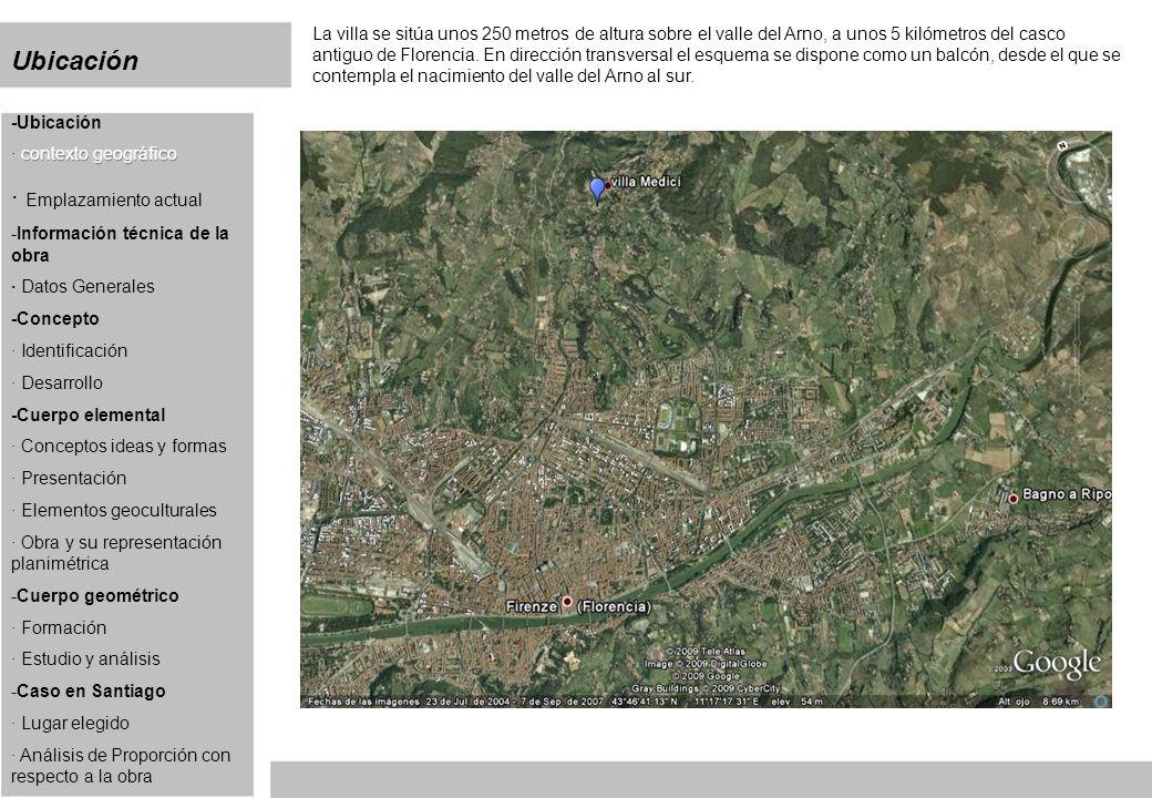 Ubicación La villa se sitúa unos 250 metros de altura sobre el valle del Arno, a unos 5 kilómetros del casco antiguo de Florencia. En dirección transv